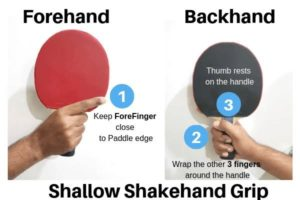 forehand and backhand ping pong grip